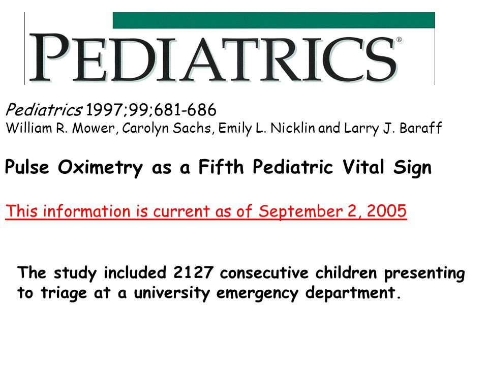 Pulse Oximetry as a Fifth Pediatric Vital Sign