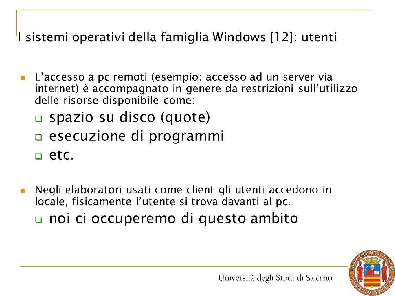 spazio su disco (quote) esecuzione di programmi etc.