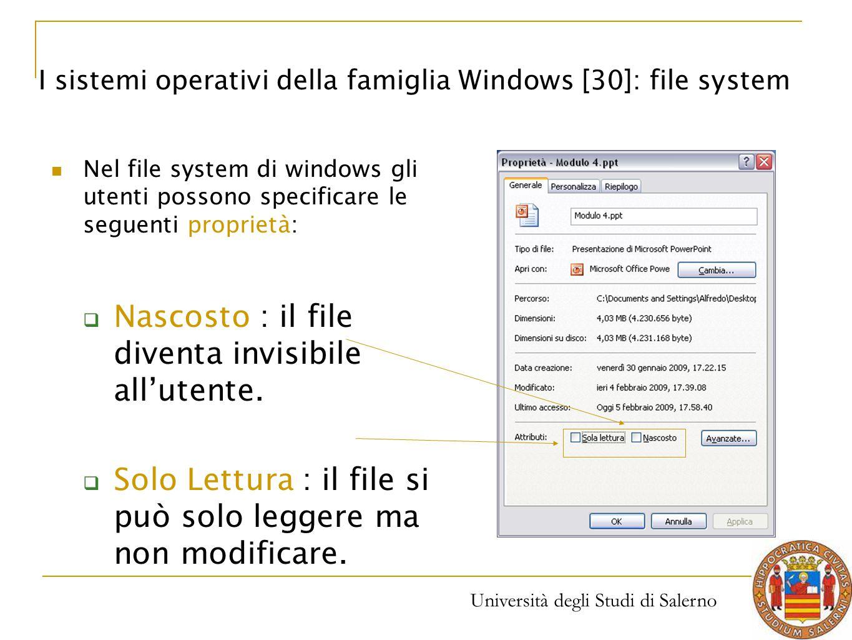 Nascosto : il file diventa invisibile all'utente.
