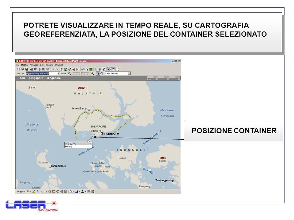 POTRETE VISUALIZZARE IN TEMPO REALE, SU CARTOGRAFIA GEOREFERENZIATA, LA POSIZIONE DEL CONTAINER SELEZIONATO