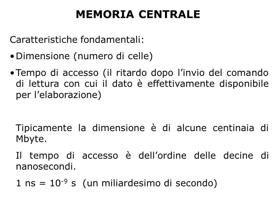 MEMORIA CENTRALE Caratteristiche fondamentali: