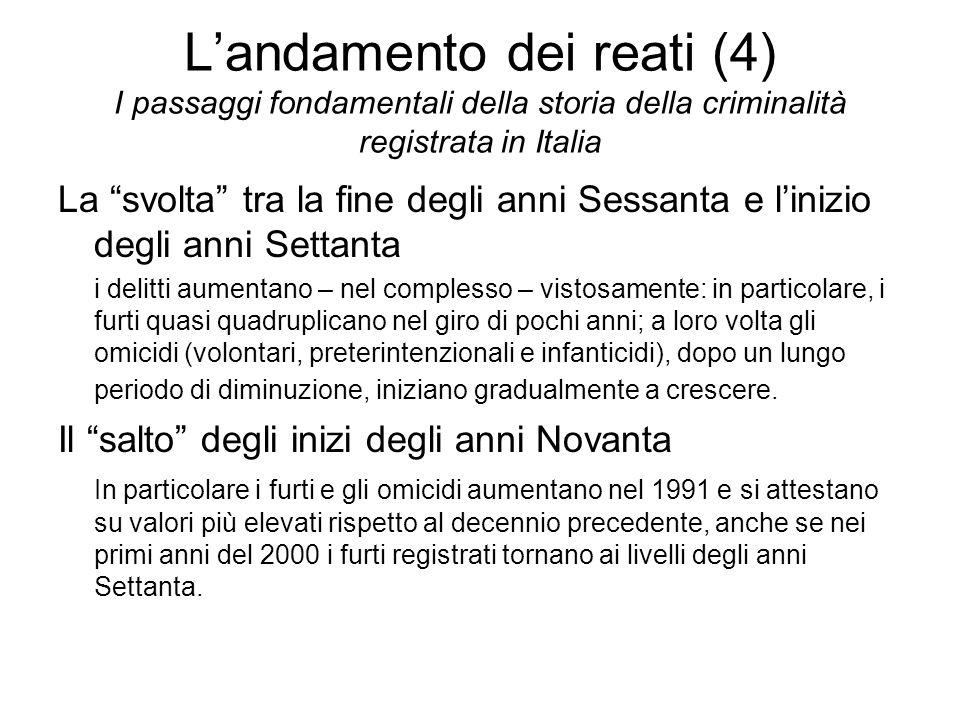 L'andamento dei reati (4) I passaggi fondamentali della storia della criminalità registrata in Italia