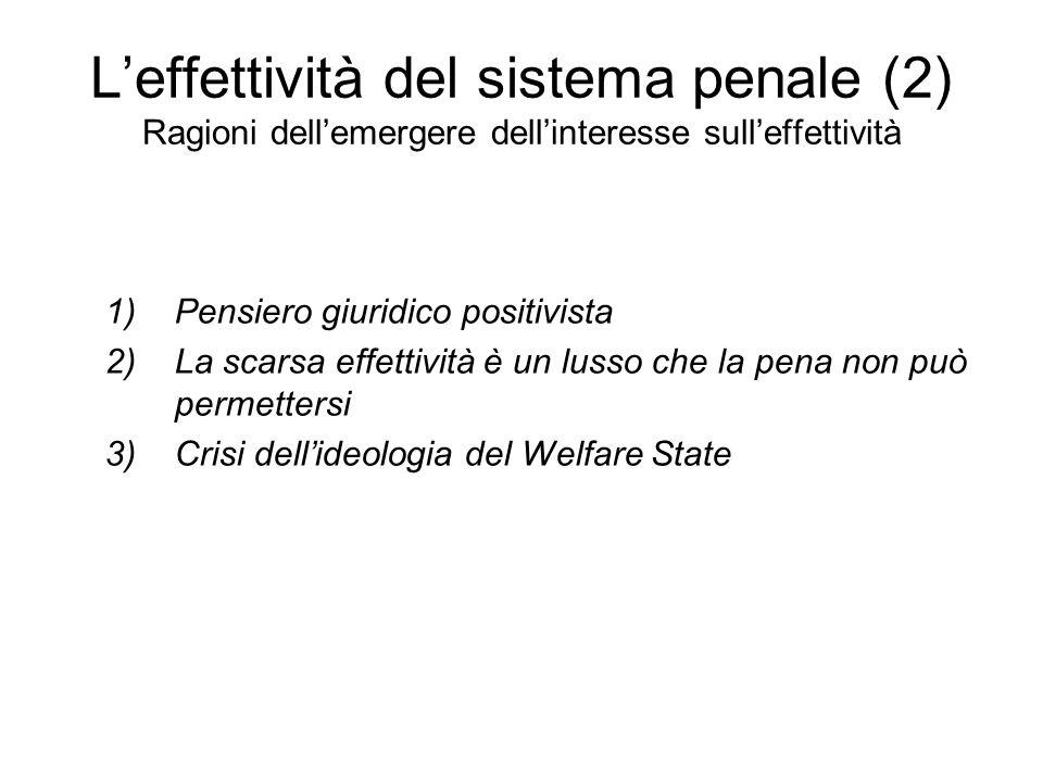 L'effettività del sistema penale (2) Ragioni dell'emergere dell'interesse sull'effettività