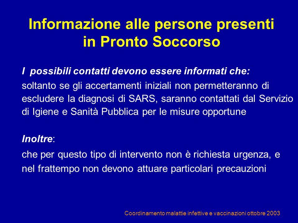 Informazione alle persone presenti in Pronto Soccorso