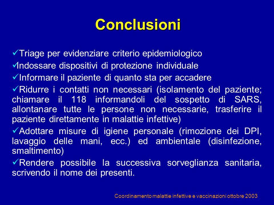 Conclusioni Triage per evidenziare criterio epidemiologico