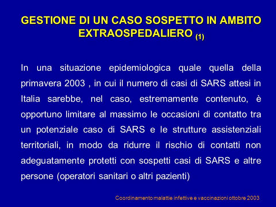 GESTIONE DI UN CASO SOSPETTO IN AMBITO EXTRAOSPEDALIERO (1)