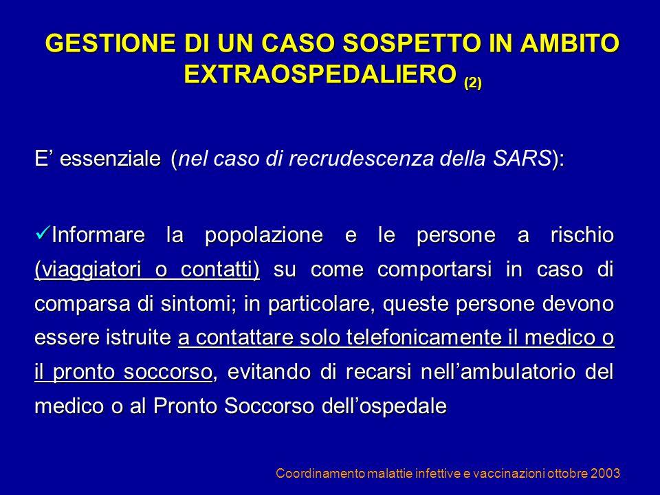 GESTIONE DI UN CASO SOSPETTO IN AMBITO EXTRAOSPEDALIERO (2)