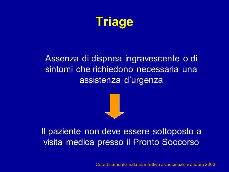Triage Assenza di dispnea ingravescente o di sintomi che richiedono necessaria una assistenza d'urgenza.