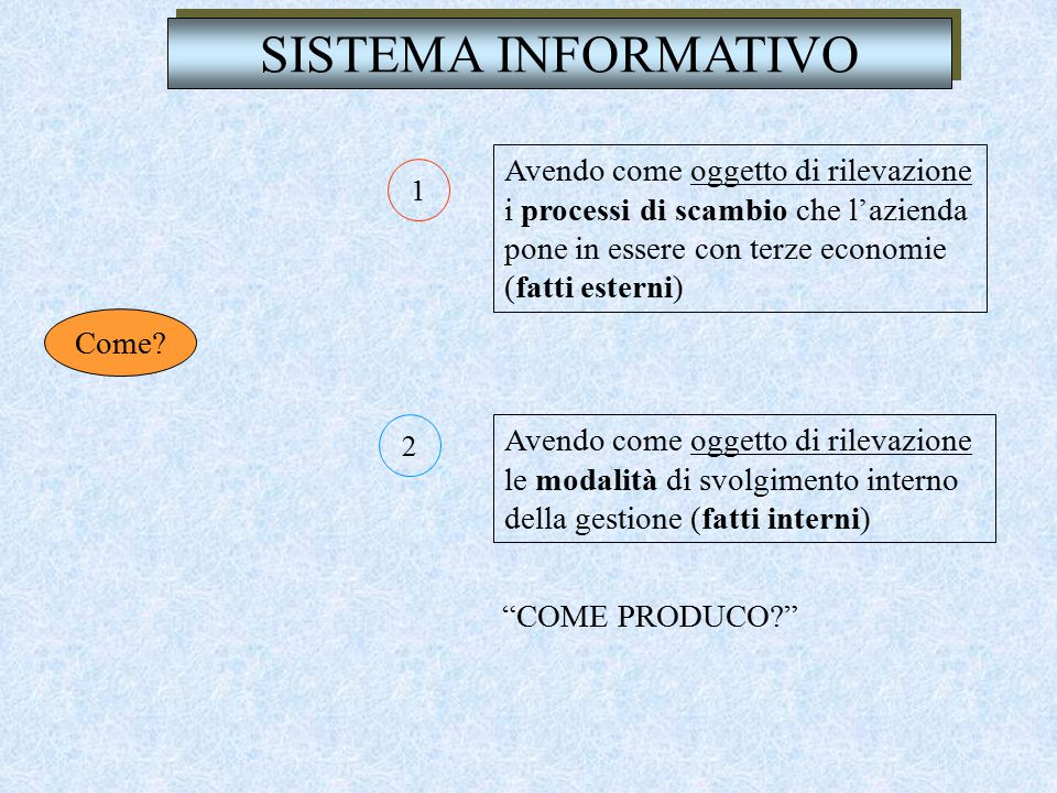 SISTEMA INFORMATIVO Avendo come oggetto di rilevazione i processi di scambio che l'azienda pone in essere con terze economie (fatti esterni)