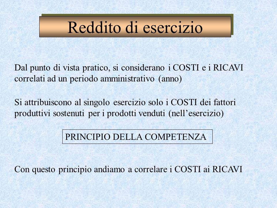 Reddito di esercizio Dal punto di vista pratico, si considerano i COSTI e i RICAVI correlati ad un periodo amministrativo (anno)