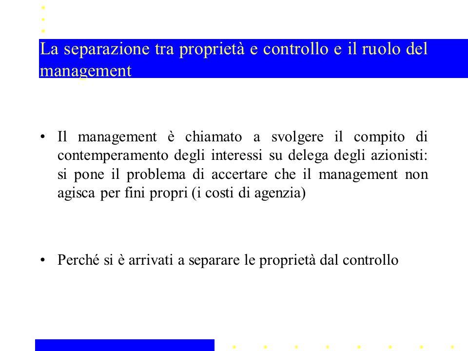 La separazione tra proprietà e controllo e il ruolo del management