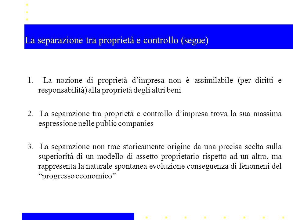 La separazione tra proprietà e controllo (segue)