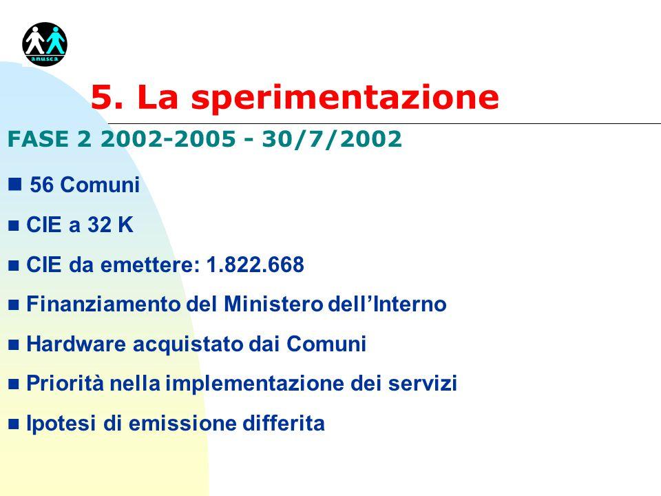 5. La sperimentazione FASE 2 2002-2005 - 30/7/2002 56 Comuni