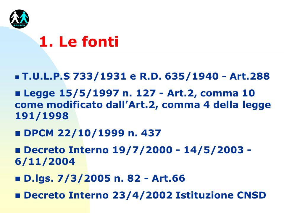 1. Le fonti T.U.L.P.S 733/1931 e R.D. 635/1940 - Art.288.