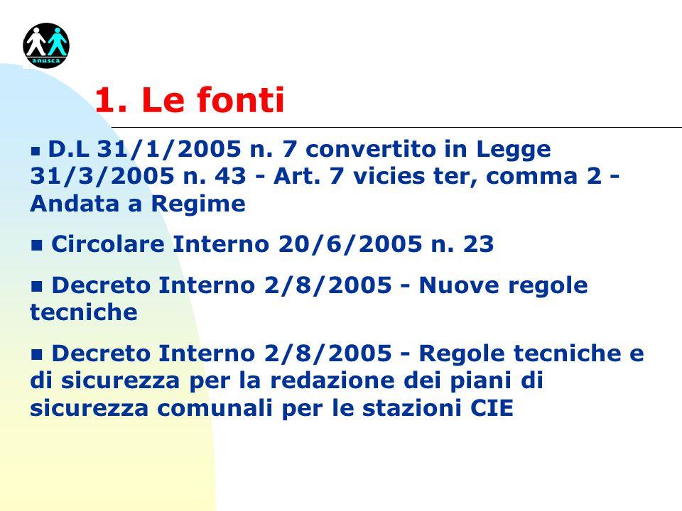 1. Le fonti Circolare Interno 20/6/2005 n. 23