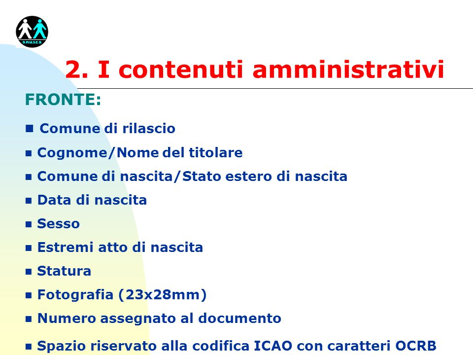 2. I contenuti amministrativi