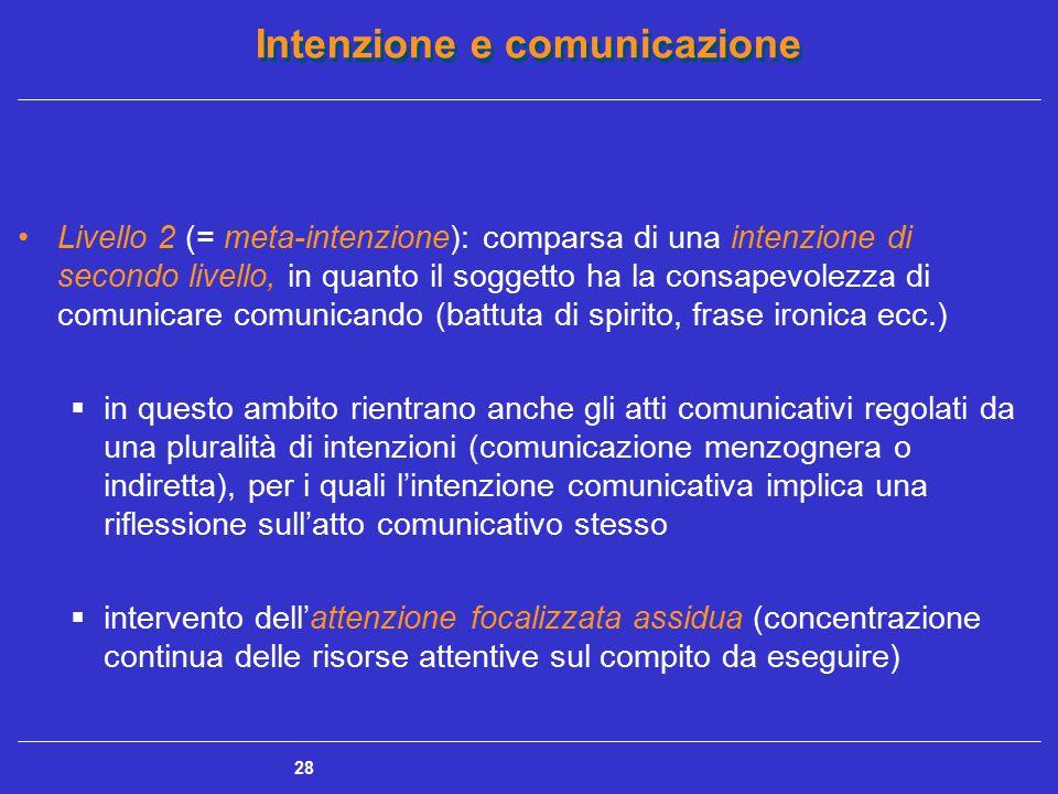 Livello 2 (= meta-intenzione): comparsa di una intenzione di secondo livello, in quanto il soggetto ha la consapevolezza di comunicare comunicando (battuta di spirito, frase ironica ecc.)