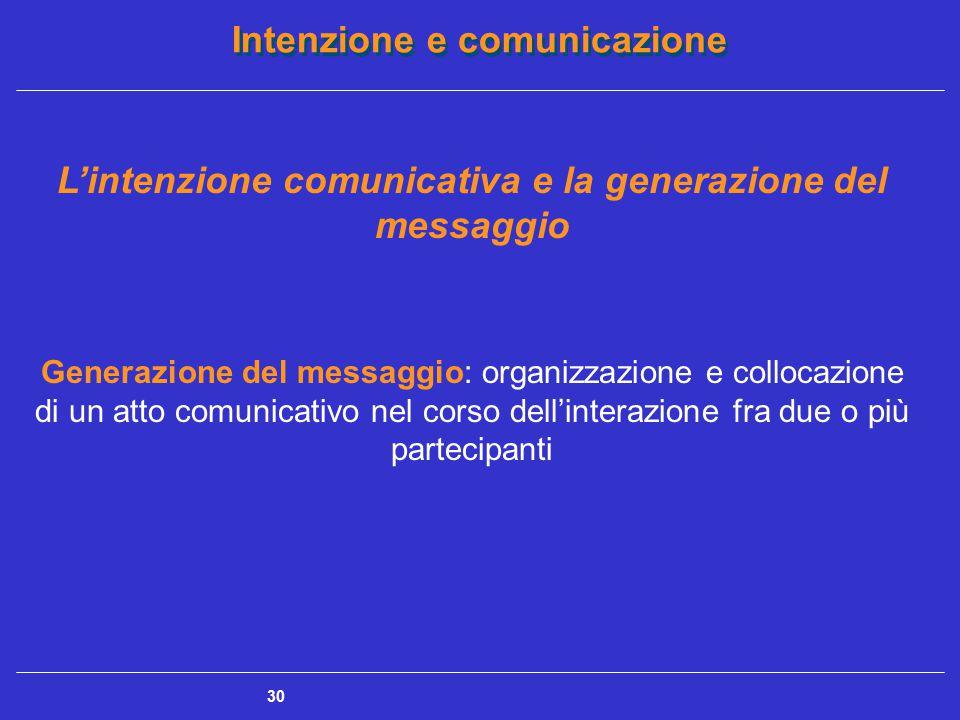 L'intenzione comunicativa e la generazione del messaggio
