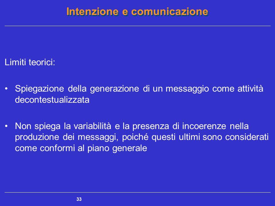 Limiti teorici: Spiegazione della generazione di un messaggio come attività decontestualizzata.