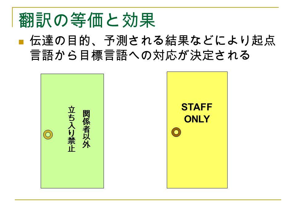 翻訳の等価と効果 伝達の目的、予測される結果などにより起点言語から目標言語への対応が決定される STAFF ONLY 立ち入り禁止