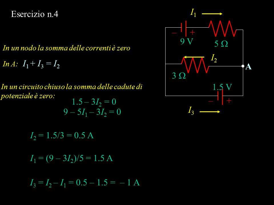 I1 I3 I2 Esercizio n.4 + – 9 V 5  A 3  1.5 V + – 1.5 – 3I2 = 0