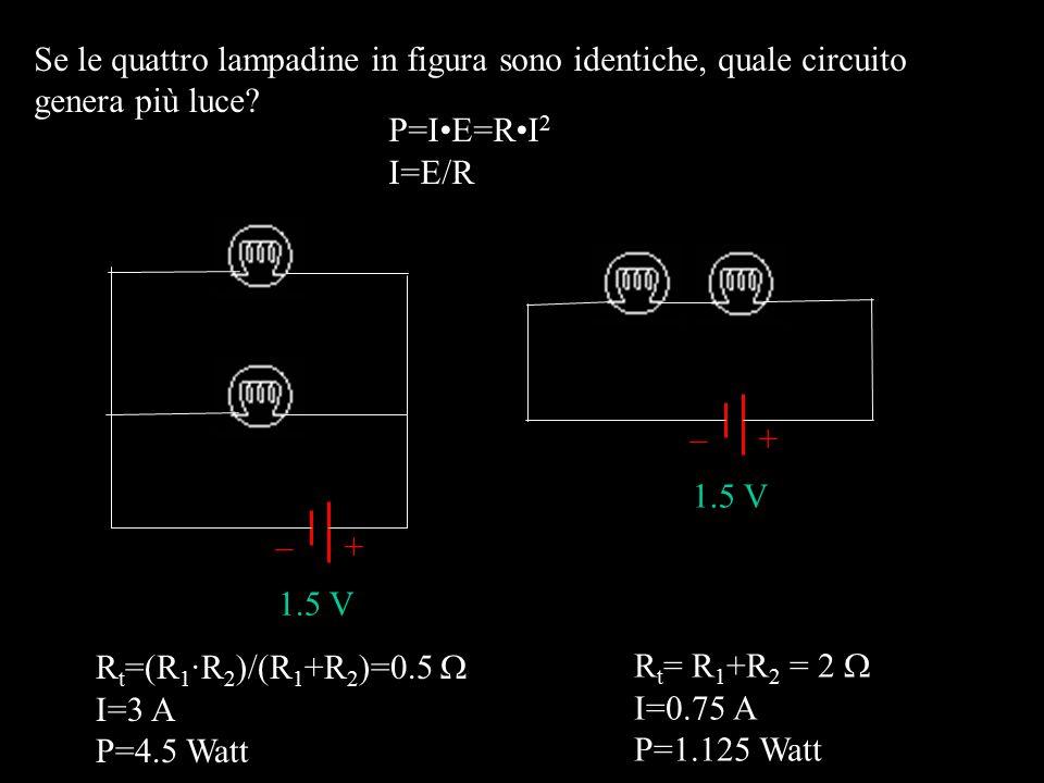 Se le quattro lampadine in figura sono identiche, quale circuito genera più luce