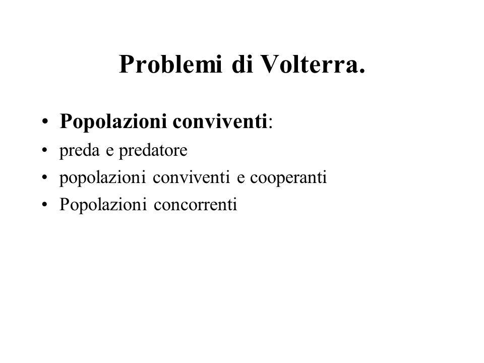 Problemi di Volterra. Popolazioni conviventi: preda e predatore