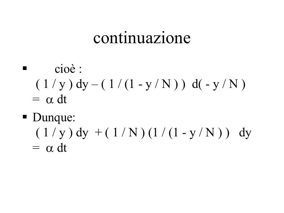 continuazione cioè : ( 1 / y ) dy – ( 1 / (1 - y / N ) ) d( - y / N ) =  dt.