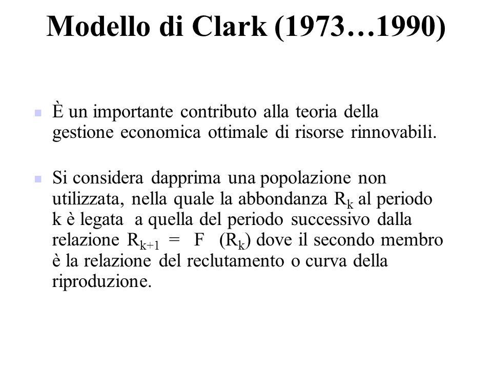 Modello di Clark (1973…1990) È un importante contributo alla teoria della gestione economica ottimale di risorse rinnovabili.