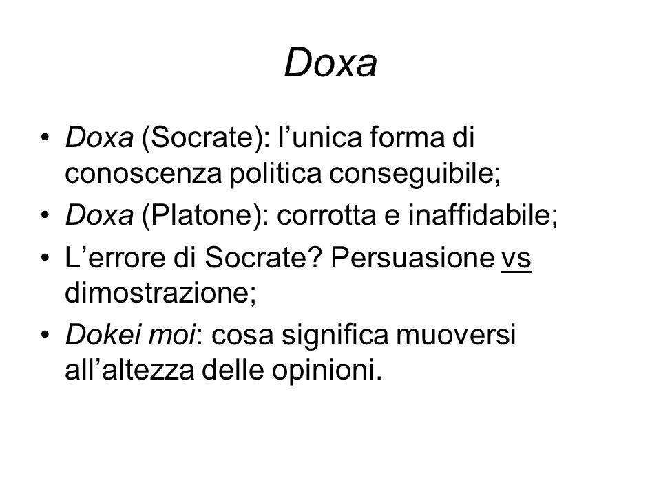 Doxa Doxa (Socrate): l'unica forma di conoscenza politica conseguibile; Doxa (Platone): corrotta e inaffidabile;
