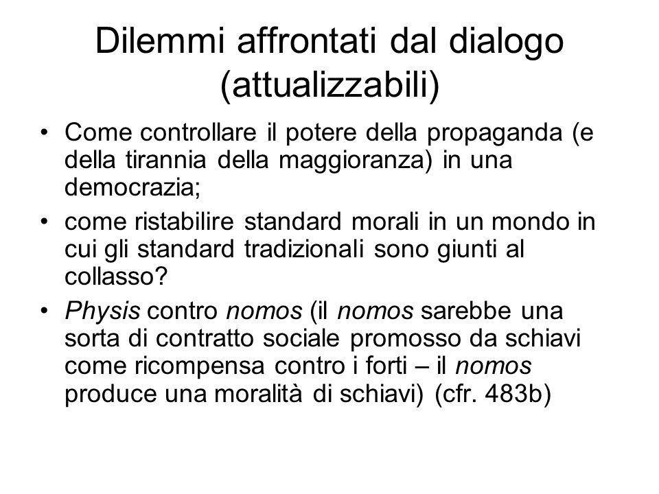 Dilemmi affrontati dal dialogo (attualizzabili)