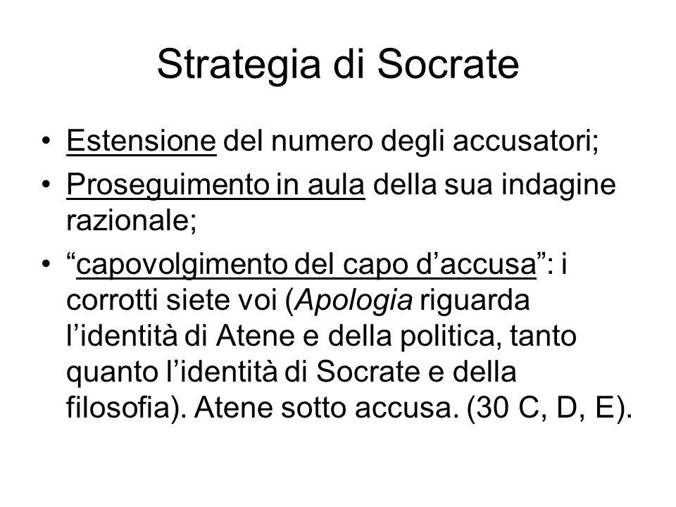 Strategia di Socrate Estensione del numero degli accusatori;
