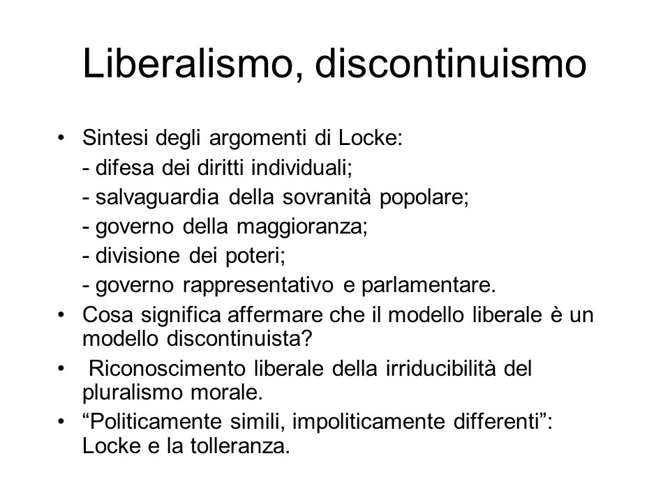 Liberalismo, discontinuismo