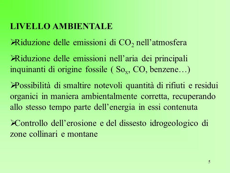 LIVELLO AMBIENTALE Riduzione delle emissioni di CO2 nell'atmosfera.