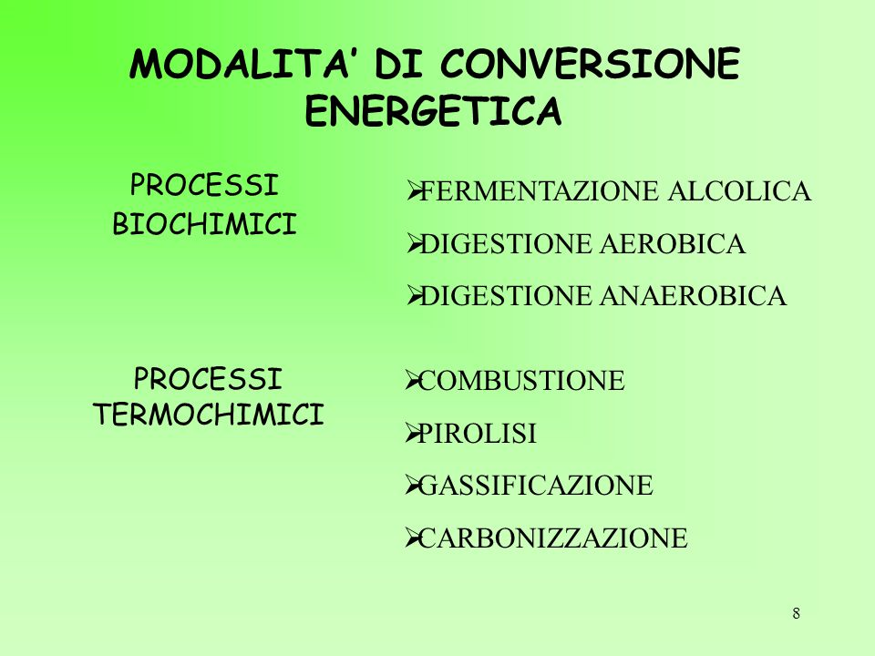MODALITA' DI CONVERSIONE ENERGETICA