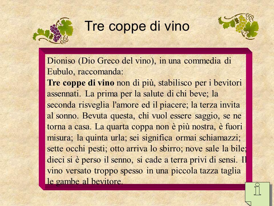 Tre coppe di vino Dioniso (Dio Greco del vino), in una commedia di Eubulo, raccomanda: