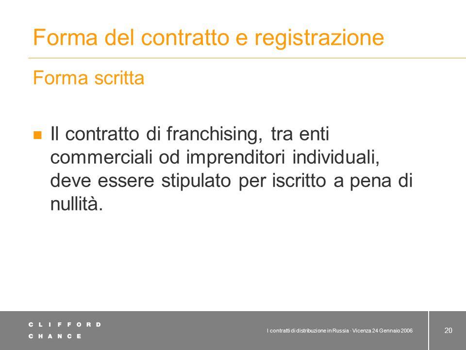 Forma del contratto e registrazione