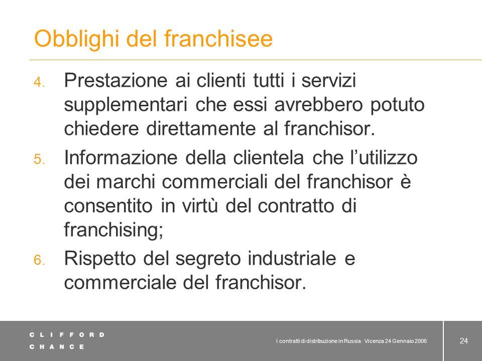 Subconcessione Il contratto di franchising può prevedere la subconcessione a terzi da parte del franchisee.