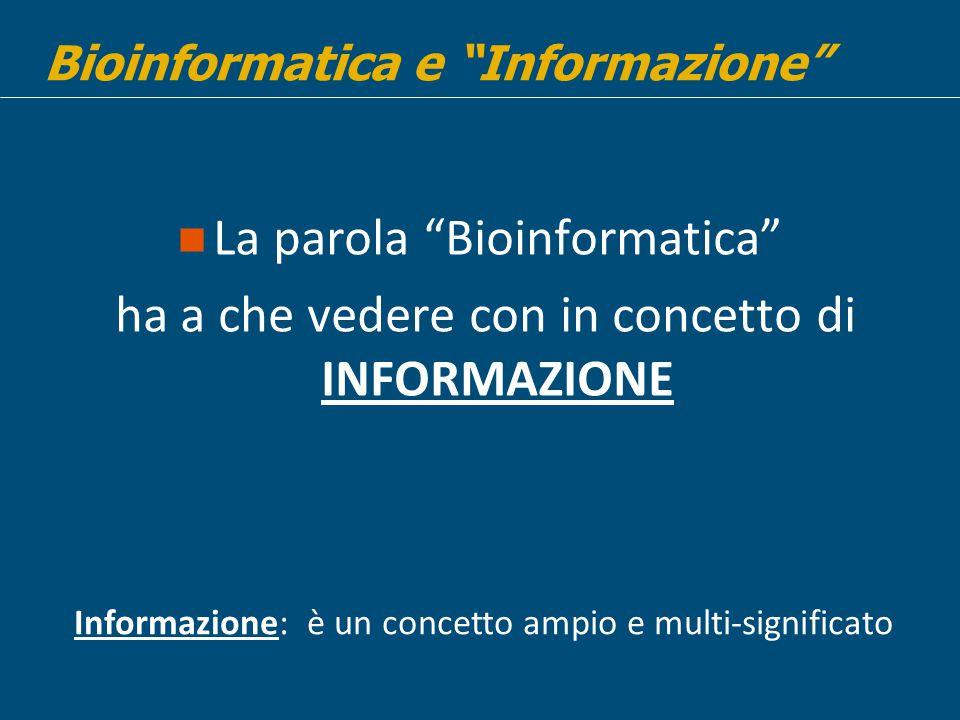 La parola Bioinformatica
