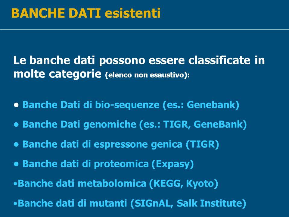 BANCHE DATI esistenti Le banche dati possono essere classificate in molte categorie (elenco non esaustivo):