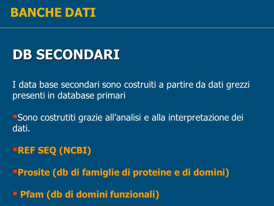 DB SECONDARI BANCHE DATI