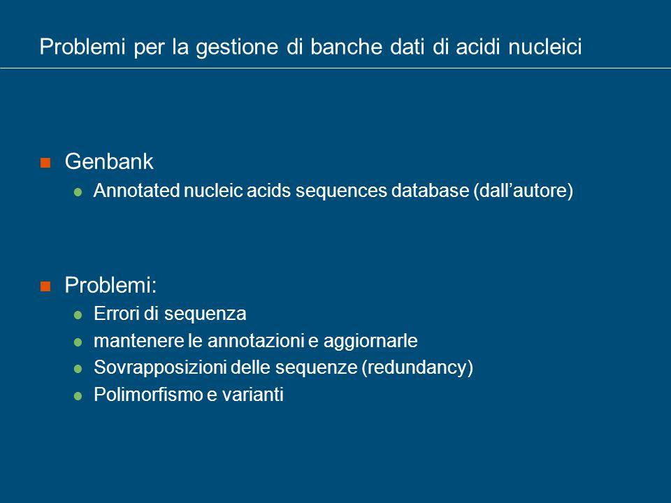 Problemi per la gestione di banche dati di acidi nucleici