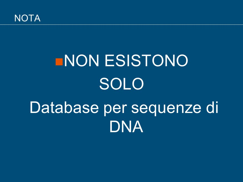Database per sequenze di DNA