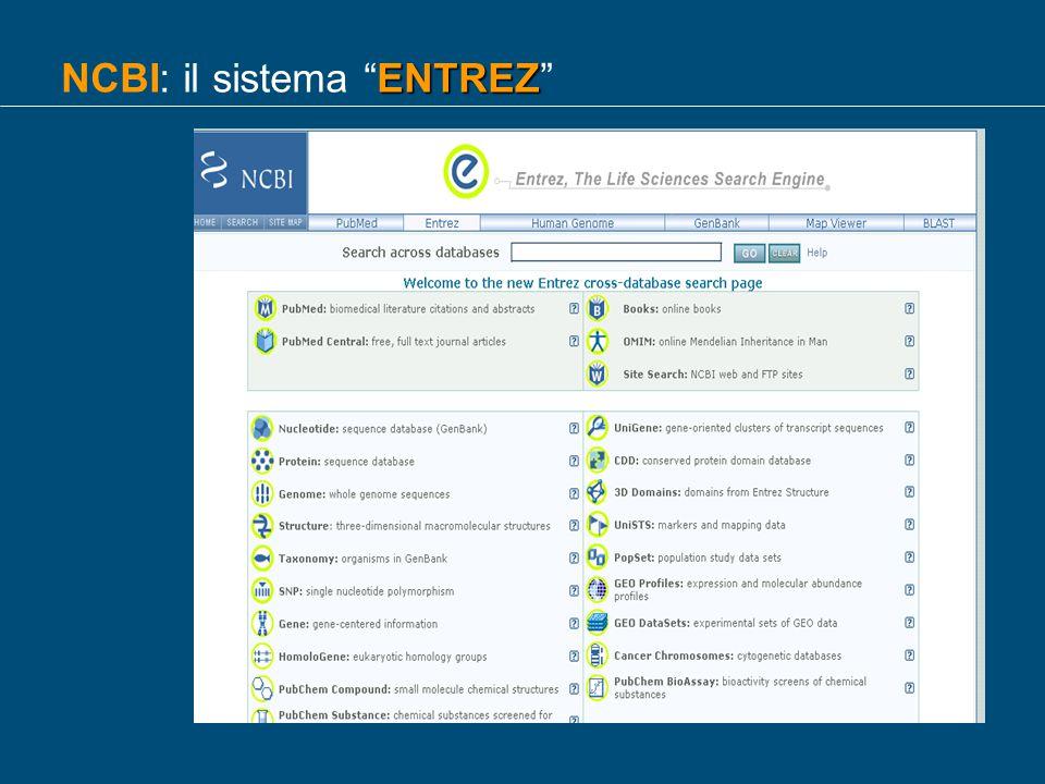 NCBI: il sistema ENTREZ