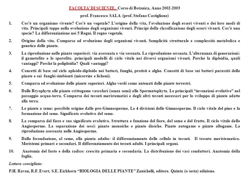 FACOLTA' DI SCIENZE, Corso di Botanica, Anno 2002-2003
