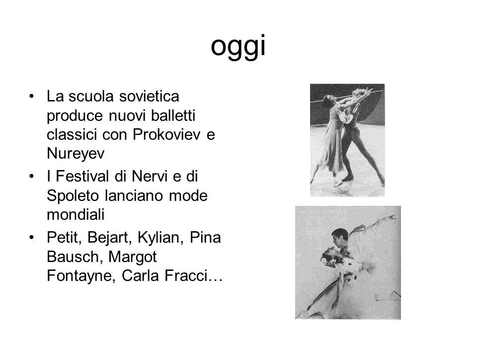 oggi La scuola sovietica produce nuovi balletti classici con Prokoviev e Nureyev. I Festival di Nervi e di Spoleto lanciano mode mondiali.