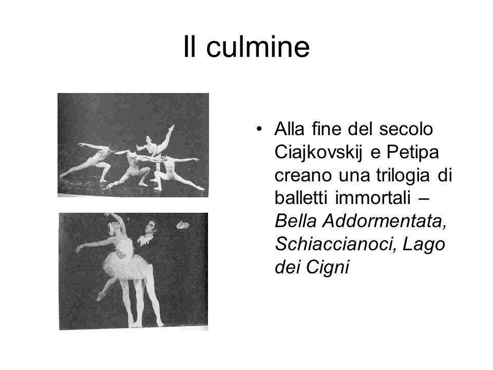 Il culmine Alla fine del secolo Ciajkovskij e Petipa creano una trilogia di balletti immortali – Bella Addormentata, Schiaccianoci, Lago dei Cigni.