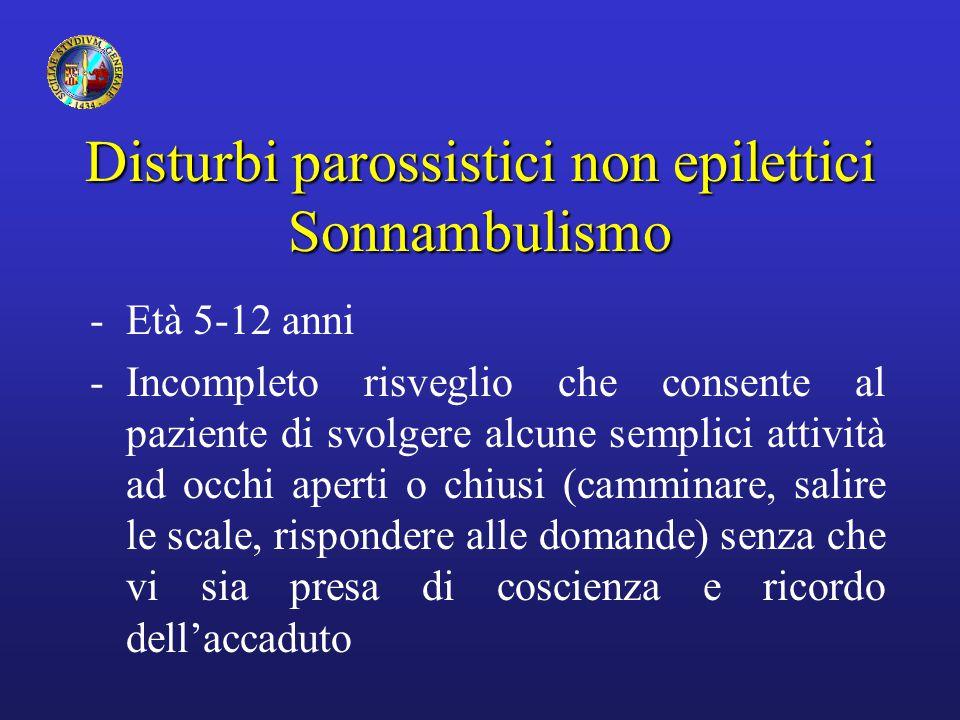 Disturbi parossistici non epilettici Sonnambulismo