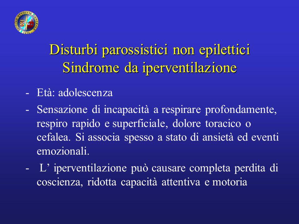 Disturbi parossistici non epilettici Sindrome da iperventilazione