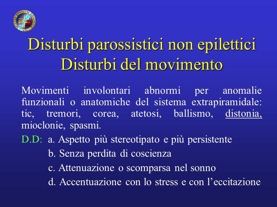Disturbi parossistici non epilettici Disturbi del movimento